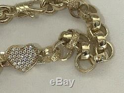 9ct Solid Gold heart with CZ Belcher Link Bracelet 14.7 grams, 7.5 length