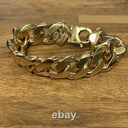 9ct Solid Heavy Chunky Yellow Gold Cuban Flat Curb 249g Bracelet XRF Checked HM