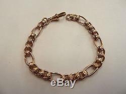 9ct Solid Rose Gold Patterned Rollerball Bracelet 7 3/4 18 grams