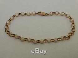 9ct Solid Rose Gold Round Belcher Chain Charm Bracelet 21cm