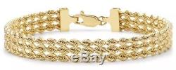 9ct Solid YELLOW GOLD Rope Style Bracelet 18cm/7inch hallmarked + FREE Gift