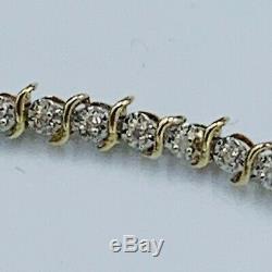 9ct Solid Yellow Gold Diamond Set Tennis Bracelet Hallmarked 7 3/4 4.6g #877