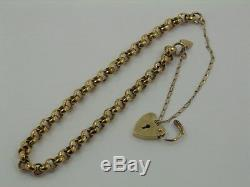 9ct Solid Yellow Gold Round Belcher Link Chain Bracelet & Heart Padlock 19.5cm I