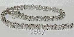 9ct White Gold 1.00ct Diamond Ladies Tennis Bracelet