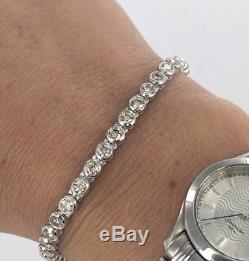 9ct White Gold Diamond Rub Over Tennis Bracelet 4.00ct