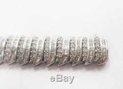 9ct White Gold Ladies Very Wide 5.25ct Diamond Tennis Bracelet