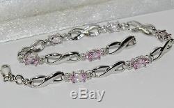 9ct White Gold Pink Sapphire & Diamond Ladies Bracelet