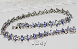 9ct White Gold Tanzanite & Diamond Ladies Tennis Bracelet