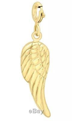 9ct YELLOW Solid GOLD Angel Wing & Clasp Charm Bracelet/Pendant + Box +FREE Gift