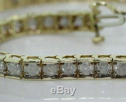 9ct Yellow Gold 5.00ct Diamond Tennis Bracelet (6.5 Inches)