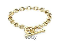 9ct Yellow Gold 6mm Oval Belcher T-bar Bracelet 18cm/7 Womens Gift Boxed