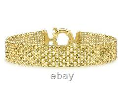 9ct Yellow Gold Bismark 12mm Wide Bracelet 19cm/7.5 Mesh Womens Gift Boxed