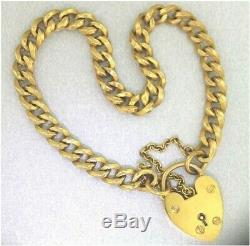9ct Yellow Gold CURB LINK BRACELET With HEART PADLOCK English Hallmarked