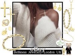 9ct Yellow Gold Charm Heart T-Bar Belcher Bracelet 18cm/7 + Box +FREE Gift