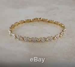 9ct Yellow Gold Diamond Cross Bracelet