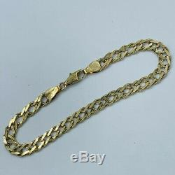 9ct Yellow Gold Double Curb 5mm Link 71/2 Bracelet # 729
