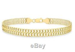 9ct Yellow Gold Double Curb Figure of 8 Strap Bracelet 19cm/7.5 Womens Gift