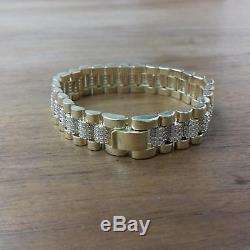 9ct Yellow Gold Fancy Bracelet With CZ's 21.8g