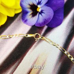 9ct Yellow Gold Figaro Chain Anklet 10 Inch Ankle Bracelet Hallmarked