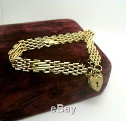 9ct Yellow Gold Hallmarked Charm Gate Bracelet Heart Padlock Ladies Gift Small