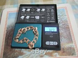 9ct Yellow Gold Hallmarked Curb Bracelet 32.37g Not Scrap 225mm long vgc