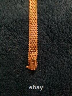 9ct Yellow Gold Ladies 8 Inches Brick Link Bracelet weighs 10.20 grams 8mm width