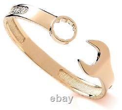 9ct Yellow Gold On Silver Men's Heavy Spanner Bangle