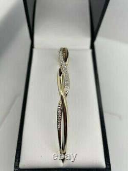 9ct Yellow Gold Round Brilliant Cut Diamond Set Hinged Bangle Preloved
