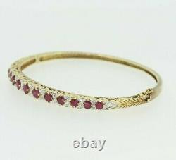 9ct Yellow Gold Ruby & Diamond Bracelet Bangle