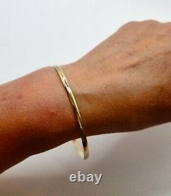 9ct Yellow Gold Slave Bangle Stacking Bangle 3mm wide D shape Profile Band 65mm