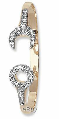 9ct Yellow Gold Solid CZ Spanner Baby Bangle Fully Hallmarked RRP £249