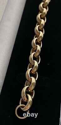 9ct Yellow Gold Solid Men's Heavy Plain Belcher Bracelet 48g 8.5 Inch Hallmarked