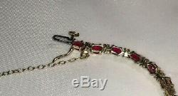 9ct Yellow Gold Stunning Ruby & Diamond Ladies Safety Chain Bracelet
