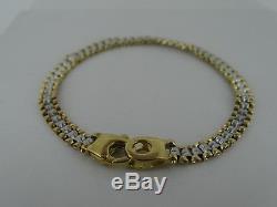 9ct Yellow Gold & White Gold Bracelet Authentic Retro Mens & Ladies