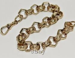 9ct Yellow Gold on Silver Men's Belcher Bracelet Hexagon Link 8.75 inch