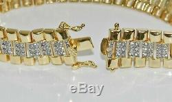9ct Yellow Gold on Silver Men's Diamond Rolex Watch Strap Bracelet