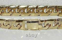 9ct Yellow Gold on Silver Men's Patterned Solid Curb Chain Bracelet 8.5 inch