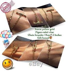 9ct Yellow Solid Gold Bracelet + Box + FREE Gift