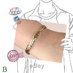 9ct Yellow Solid Gold Cashmere Style Bracelet 19cm/7.5 Hallmarked + FREE Gift