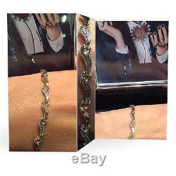 9ct Yellow and White Solid GOLD Link Bracelet 19cm Hallmarked + Box + FREE Gift