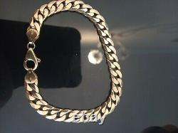 9ct gold mens bracelet, weighs 26.7g, 8.5 long X 7mm wide, is hallmarked etc