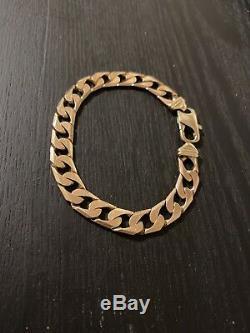 9ct gold mens curb bracelet