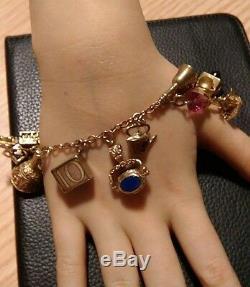 9ct gold vintage charm bracelet