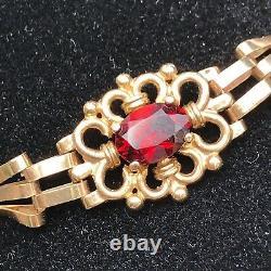 9ct solid Gold 3 Bar Gate Bracelet Vintage Victorian Style Garnet Set #122