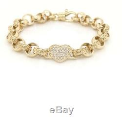 9ct yellow Gold solid heart Belcher link bracelet with whiteCZ 14.9 grams, 7.5