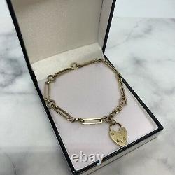 9ct yellow gold 7 1/4 Ring Design bracelet Padlock weight 7.51 gram Value £435