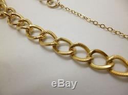 9ct yellow gold 7 inch curb link charm bracelet