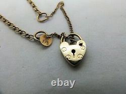 9ct yellow gold Padlock bracelet chain English hallmarks 9k 375