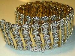 9ct yellow gold hallmarked 3.00 ct real Natural Diamond heavy Tennis Bracelet