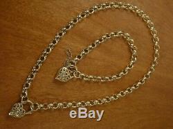 9k 9ct Solid Gold Engraved Belcher Necklace + Bracelet Set 8mm, 46cm 43.94g